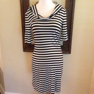 Allen B. Black & White Stripe Hoodie Knit Dress XS